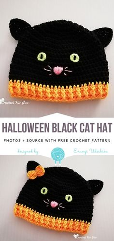 Crochet Beanie Design Halloween Black Cat Hat Free Crochet Pattern - Although Halloween Black Cat Hat has specific holiday in the name, I am sure it will look amazing during the entire fall and winter season! This classic simple Crochet Kids Hats, Crochet Dolls, Crochet For Children, Crochet Cats, Crochet Birds, Knitted Dolls, Crochet Animals, Free Form Crochet, Simple Crochet