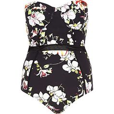 Black floral mesh insert swimsuit £30.00