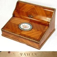 """Superb Antique French TAHAN Napoleon III Era 15.5"""" Writer's Chest, an Opulent Kingwood Marquetry Box"""