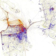 """The SPUR exhibition Urban Cartography, which is open until February 6, 2015, documents mapmaking in the past twenty years. Eric Fischer's map, one of the myriad pieces on view, documents where locals and tourists in San Francisco take photographs using geotagged photos from Flickr and Picasa. Blue signifies locals, red is tourists, and yellow could be either. """"His maps are gorgeous,"""" says Allison Arieff, SPUR's editorial director and the show's curator. """"It's not immediately apparent what…"""