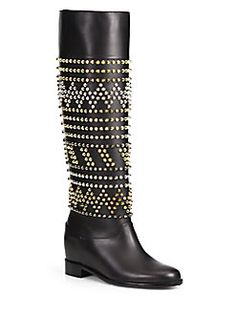 Christian Louboutin - Rom Chic Studded Leather Knee-High Boots