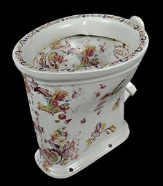 Rare Decorated Toilet Bowl With Hand Painted Leaves And Flowers In The Belle Epoque Style - Made By Heinlein & Cia - Argentina   c.1900  -  Antiquarian Traders