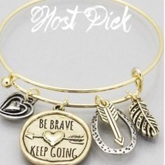 Be Brave Keep Going Arrow bracelet New! Antique gold tone 2.25 inch diameter hook bracelet. Bundle and save 15% with the add to bundle feature  Jewelry Bracelets