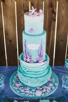 Pretty blue and Lavender #Wedding #Cake
