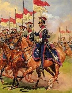 Polish Guard Lancers in parade uniforms,  picture by Rousellot.