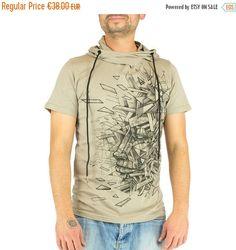 ANGLE t-shirt man with hood, geometric prints, ice break, face, psywear, underground, electro, techno,  Handmade Materials: t shirt, man, printed, silkscreen, hooded