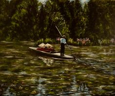 """""""Punting on the Lake"""", 51 x 61 cm, acrylic on canvas, framed, $700, by Cathy Yarwood-Mahy Boat, Paintings, Canvas, Artwork, Tela, Dinghy, Work Of Art, Paint, Auguste Rodin Artwork"""