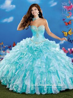 Aqua Teal Blue Organza quinceanera princess ball gown with a strapless sweetheart neckline, corset bodice with bead embellishment, two-toned ruffle skirt, lace-up back, and a sleeveless ruffled bolero.