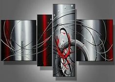 handmade 4 piece black white red silver modern abstract wall art oil painting on canvas pictures unique gift for living room