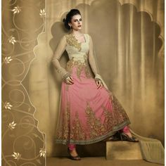 Deep Rose Pink, Beige  and  Net Long Length Anarkali  - Salwar Suit by ODFASHION