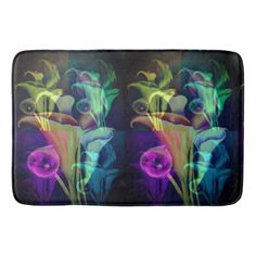 #Calla Lilly multicolored Bathroom Mat - #Bathroom #Accessories #home #living