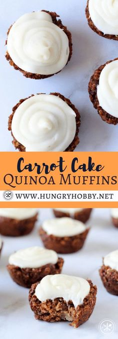 Healthy Gluten Free Carrot Cake Quinoa Muffins with Frosting
