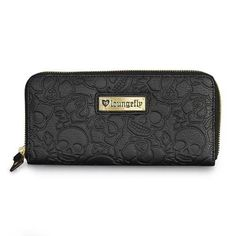 Loungefly Black Wallet Skull Rose Zip Around Faux Leather