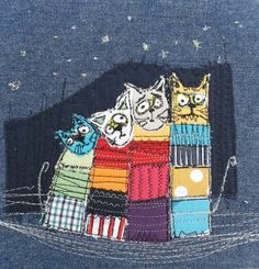 Marieta Stefanova embroidery application Source by g_mm Abstract Embroidery, Freehand Machine Embroidery, Free Motion Embroidery, Machine Embroidery Applique, Embroidery Art, Cross Stitch Embroidery, Fabric Cards, Fabric Postcards, Cat Applique