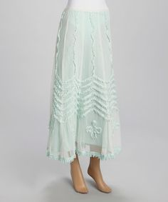 Look what I found on #zulily! Mint Sheer Embroidered Midi Skirt by Papillon Imports #zulilyfinds