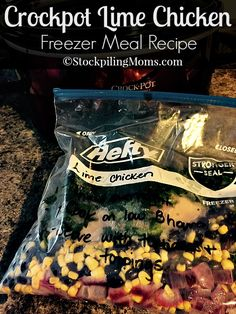 This is a must pin freezer meal recipe! Crockpot Lime Chicken is amazing!