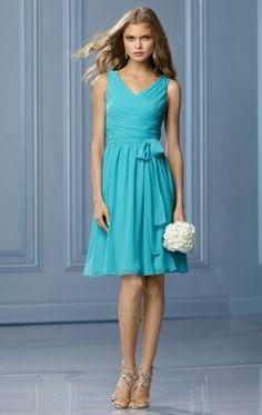 Unique Chiffon Ocean Blue Bridesmaid Dress BNNBF0002-Bridesmaid UK