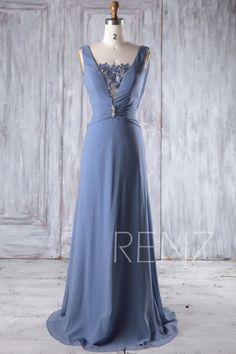 Steel Blue Chiffon Bridesmaid Dress Wedding Dress Draped Back Prom Dress Illusion Lace V Neck Party Dress Beaded A-Line Formal Blue Bridesmaid Dresses, Prom Dresses, Formal Dresses, Wedding Dress Suit, Party Dress, Draped Dress, Lace Dress, Chiffon Dress, Marine Uniform