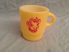 Old Borden's Elsie Cow Yellow Fire King Advertising Promo Coffee Mug | eBay
