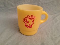 Old Borden's Elsie Cow Yellow Fire King Advertising Promo Coffee Mug | eBay