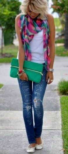 Love the scarf and bag color--cute look for a jeans/tee sprucing up