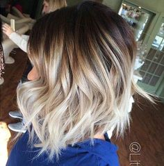 11. Shattered Bob Back to balayage again and this is another classic example of how short hair and this color style works so well together. Heading from a darker brown, almost natural root to a really cool, almost icy blonde, every shade is used in between to make this stunning look come across as somewhat natural. …