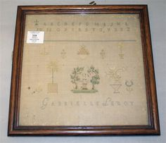 A Mid 19th Century French Sampler Stitched By Gabrielle Leroy & Dated 1834