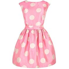 Kerris Dress ($229) ❤ liked on Polyvore featuring dresses, vestidos, pink, short dresses, pink mini dress, polka dot dress, polka dot cocktail dress, full skirt and pink dress