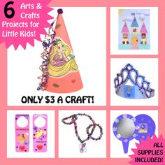 DISNEY PRINCESS CRAFTS  6 Craft Kits for by childrenswoodland, $17.98