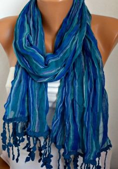 Blue Scarf Shawl Scarf   Cowl Scarf by Fatwoman by fatwoman,