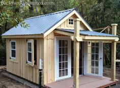 Need a shed or studio with no treated materials? This custom 10'x12' Garden Shed is available from Backyard Unlimited. Options include a 5'x10' Porch, Metal Roof, Hinged Slider Windows, 15-Lite Prehung Doors, Board & Batten Siding, and Redwood Foundation and Deck www.backyardunlim...