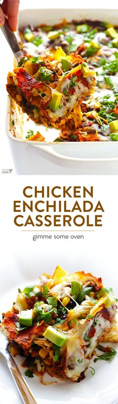 Chicken Enchilada Casserole -- my favorite recipe for enchiladas thats made extra easy by being stacked into a casserole recipes with chicken Chicken Enchilada Casserole, Enchilada Recipes, Healthy Chicken Enchiladas, Homemade Enchilada Sauce, Homemade Sauce, Tostadas, Tacos, Mexican Food Recipes, Dinner Recipes