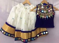 Mirror Work Lehenga in White - Indian Dresses Kids Dress Wear, Kids Gown, Dresses Kids Girl, Kids Outfits, Kids Fashion Dresses, Dresses For Kids, Kids Wear, Fashion Clothes, Choli Designs