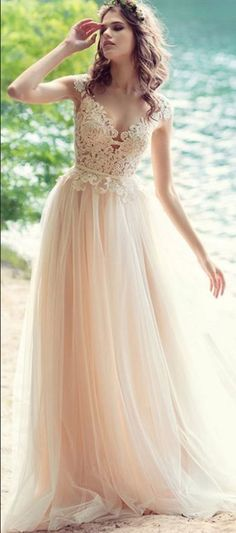 Blush Bohemian Beach Wedding Dress With Open V Sexy Lace Wedding Dresses,Simple Women Party Gowns ,Bridal Gowns ,A Line Brdial Dresses Romantic Bohemian Wedding Dresses, Bohemian Gown, Sheer Wedding Dress, Wedding Gowns, Lace Dress, 2017 Wedding, 2017 Bridal, Vintage Bohemian, Champagne Wedding Dresses