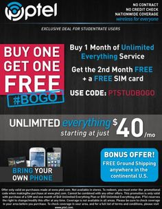 What's more awesome than one month of Unlimited Everything service? A second one FREE! Use code: PTELSTUDBOGO at checkout at www.ptel.com/phones #byop #bringyourownphone #ptelmobile #ptel #unlimitedeverything #FREE #BOGO