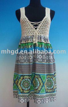 Vestidos de playa combinados en tela y crochet – Útiles de Mujer