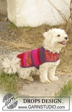 """Cappottino DROPS per il cane lavorato ai ferri a maglia a grana di riso con il filato """"Eskimo"""" Taglie: XS – S – M ~ DROPS Design"""