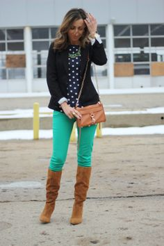Polka dot peplum top with black blazer, green skinnies, and I would wear my Buffalo boots