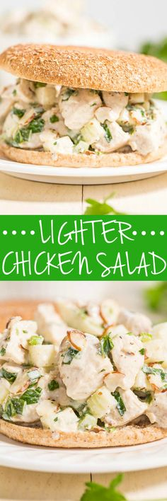 Lighter Chicken Salad - Hello to easy, flavorful, healthier chicken salad!! Goodbye mayo, hidden fat, and empty calories! You'll never miss them in this fresh twist on the classic!!