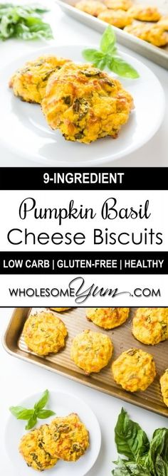 Pumpkin Basil Cheese Biscuits (Low Carb, Gluten-free) - These savory, cheesy pumpkin basil biscuits are the perfect fall snack or meal addition. Low carb and gluten-free!   Wholesome Yum - Natural, gluten-free, low carb recipes. 10 ingredients or less.