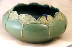 Mary Pratt - 'Continuing Hope' in a new 'Mossine' Green - Cabinet Vase - I love Gingko leaves, lovely shape.