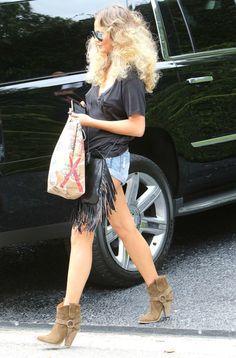 Chrissy Teigen's Isabel Marant Etoile Rawson Brown Harness Boots
