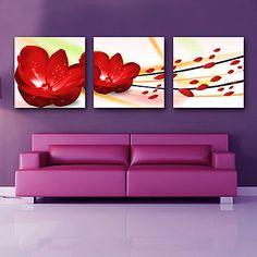 Τεντωμένο καμβά τέχνης Floral Red Rose Σετ από 3 – EUR € 69.99