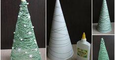 Que tal fazer uma mini árvore de natal de linha de crochê  para  decorar  sua mesinha de centro e os móveis da casa?   É bem simples,...