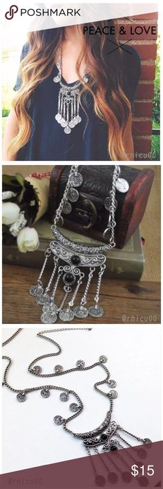 """Boho Silver Turkish Coin Statement Necklace! Your Perfect Boho Trendy Statement Necklace! Vintage worn Silver look, Turkish Coins & Black Beads on this 29"""" long Necklace- Perfect Fall/Winter Statement piece with your Dolman tops & Cardigans❣  • Vintage Silver Plating; Not a heavy Necklace • Pendant Measurements: ~3.5""""L X 2.25""""W • Lobster clasp closure with 2"""" extender   ➖Prices Firm, Bundle for 20% Discount ➖""""Trade"""" & Lowball Offers will be ignored ➖Sales are Final, Please read Description…"""
