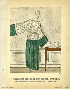 """Date: 1922    Description: Green afternoon dress with lace, """"a la Marechale"""