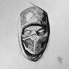 #scorpion #mk #mortalkombat #mortalkombatx #mortalkombat9  #mortalkombat10 #blackwork #blackandgrey #illustration #scl #chile #ink #tattooflash #tattoodesign