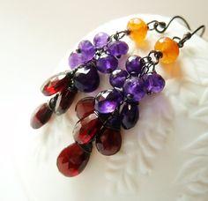 Garnet Amethyst Carnelian dangle earrings. January by TatianaG