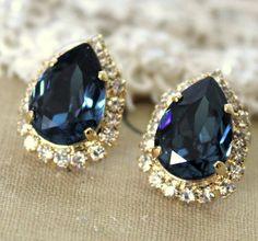 Blue denim Crystal big teardrop stud earring - 14k plated gold post earrings real swarovski rhinestones .