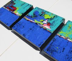 SALE, Blue Abstract Original Acrylic Paintings, Triptych, Landscape, Modern Home Decor, Wall Art on Etsy,